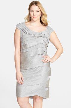 Rosette Detail Portrait Collar Tiered Sheath Dress (Plus Size)