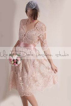 Plus Size blush pink party /evening /Cocktail /lace dress/ knee length/ romantic dress by UpToDateFashion on Etsy https://www.etsy.com/listing/218048788/plus-size-blush-pink-party-evening