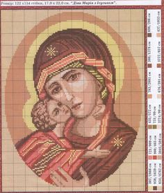 Mary and Baby Jesus bead or cross x stitch chart, scroll down