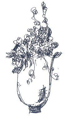 Floral arrangement on tables. A sketch by Yuna Weddings
