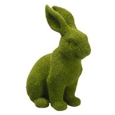 Green Moss Covered Bunny Rabbit Spring Easter Table Top Figure