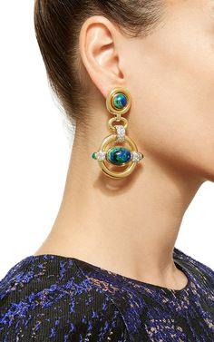 Cabachon Azurite, Emerald, and Diamond Earrings - David Webb Resort 2016 - Preorder now on Moda Operandi