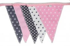 Bunting in grey and pink with stars and dots