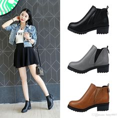 2016 Women Fashionable And Comfortable Ankle Boots Autumn Winter Slip On Synthetic Leather Square Heel Gray Brown Black Bootie Buy Shoes Online From Betty9907, $25.03| Dhgate.Com