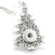 wholesale 18mm 20mm Christmas tree Snap Button Pendant 60CM Necklace Charms Fashion Snaps Button DIY Jewelry Gift For Women 2701 #DIYChristmasGifts