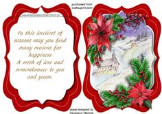 A lovely quick and easy card with a lovely verse and Christmas Scene