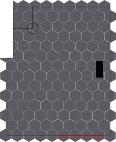 How to lay big hexagon tile!: Week 3 of the One Room Challenge / Create / Enjoy Tile Layout, Bathroom Layout, Layout Design, Basement Bathroom, Bathroom Interior, Bathroom Ideas, Large Hexagon Floor Tile, Hexagon Tiles, Tile Floor