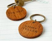 Personalised 'The Best' Wooden Circle Keyring. Bamboo Wooden Keepsake. Father's Day Gift. Hand Stamped Eco Friendly Gift. Wooden Keyring.