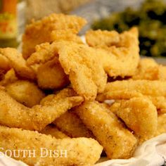 Southern Fried Catfish - Deep fried thin crispy strips of catfish, coated in a mixture of corn meal and flour, are a true Deep South favorite. I also like Tilapia. Fish Dishes, Seafood Dishes, Seafood Recipes, Cooking Recipes, Seafood Meals, Cajun Dishes, Cajun Cooking, Seafood Pasta, Smoker Recipes