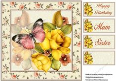 Floral Flutterby 1 on Craftsuprint designed by June Harrop - Gorgeous floral topper that makes a card suitable for many occasions. - Now available for download!