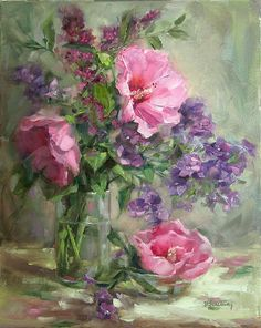 Pink-Hibiscus by Barbara  Schilling Oil ~ 20 x 16