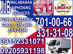 MALABANAN SIPHONING SEPTIC TANK SERVICES TELL#:(02)701-00-66 /(02)331-31-08 CELL#:09152331071 /099983154013 /09205931198  OPEN 24/7 A WEEK BETTER SERVICES ANYTIME,ANYPLACE AFFORDABLE PRIZE AND RELIABLE  LOOK FOR:JAYSON BENALDO  MALABANAN SERVICES OFFERED: *SIPHONING OF SEPTIC TANK *DEC-LOGGING/CLEAR UP CLOOGGED PIPELINES *REMOVE GARBAGE INSIDE SEPTIC TANK VAULT *DRAIN/INSTALL INLET OR OUTLET PIPES *LOCATE/OPEN SEPTI