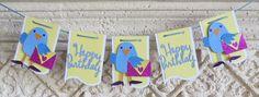 Happy Birthday Blue bird banner