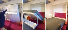 The panel hides a Murphy bed (the Atoll 000), which folds down to turn the living room into a bedroom.