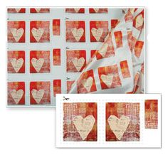 heart fabric art fabric