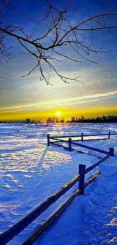 A beautiful winter prairie sunset in Saskatchewan, Canada.