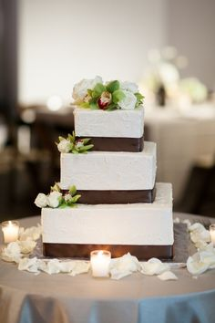 square wedding cakes with ribbon | Square Wedding Cake With Brown Satin Ribbon - Elizabeth ... | FROSTED ...