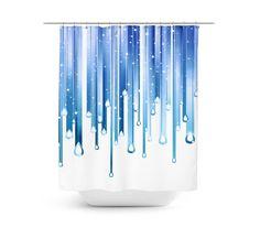 Blue White Shower Curtain  Modern Design Shower by Gallery17th
