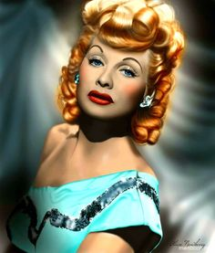 The great actress anerican #LucilleBall, in color an old portrait  ...