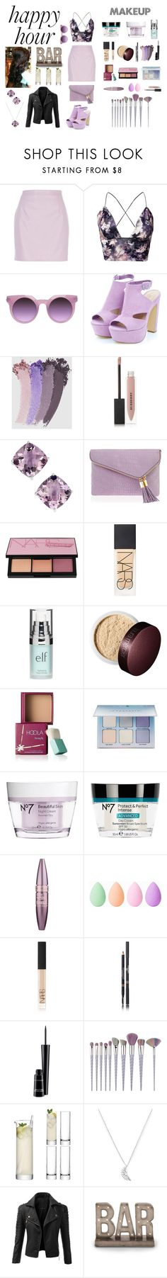 """""""Contest: Happy Hour (3)"""" by blonde-blooded ❤ liked on Polyvore featuring River Island, Oneness, Gucci, Burberry, Henri Bendel, NARS Cosmetics, Old Navy, Benefit, Anastasia Beverly Hills and Boots No7"""
