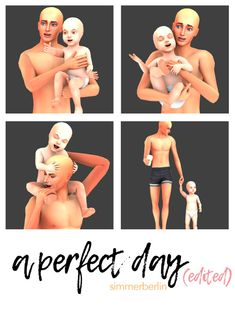 """sims 4 cc // custom content pose pack // """"a perfect day"""" toddler and parent poses by Berlin"""