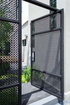 White Fence Storage Sheds lattice fence pergola. Front Gates, Entrance Gates, House Entrance, Fence Doors, Fence Gate, Horse Fence, Fencing, Metal Fences, Metal Garden Gates