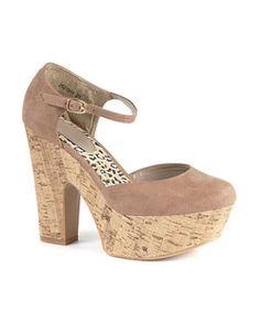 Light Brown  Mink Chunky Cork Heel