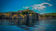 The Old Town of Vrbnik on the Rock Cliffs in the Island of Krk, Croatia