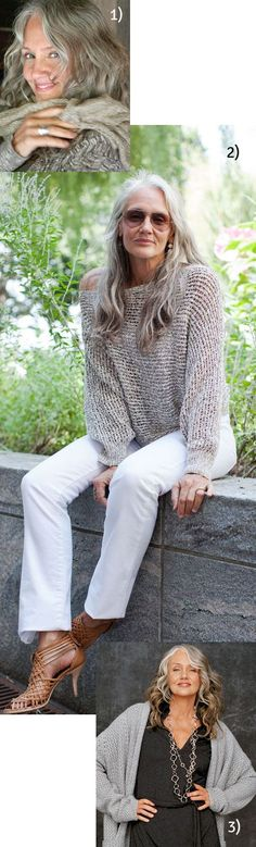 Silver hair and  this silver/grey loose knit sweater... model ~ Cindy Joseph