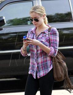 Kristin Cavallari spotted wearing Rails Kendra in Magenta/Purple in West Hollywood.