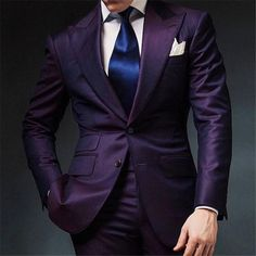 Purple Mens Wedding Prom Suits 2 Pieces Groom Tuxedos Two Buttons Dinner Blazer Best Man Groomsman Costumes terno masculino Groom Tuxedo, Tuxedo For Men, Sharp Dressed Man, Well Dressed Men, Mens Fashion Suits, Mens Suits, Mens Custom Suits, Suit Men, Men's Fashion