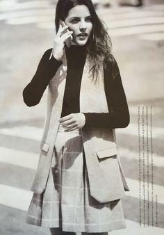 Wool vest + skirt over turtleneck || Anthropologie October 2015 catalog