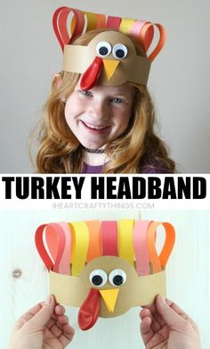 This turkey headband craft is darling and makes a perfect Thanksgiving craft for kids. Our free template makes this turkey craft easy for kids of all ages to make. Crafts for kids Turkey Headband Thanksgiving Craft Creative Crafts, Easy Crafts, Homemade Crafts, November Crafts, Headband Crafts, Headbands, Thanksgiving Crafts For Kids, Thanksgiving Turkey, Turkey Crafts For Preschool