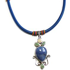 Denim Leather, Choker, Pendant Necklace, Natural Gems Pendant, Classic... (€36) ❤ liked on Polyvore featuring jewelry, leather jewelry, green pendant, yellow pendant necklace, gem jewelry and round necklace pendant