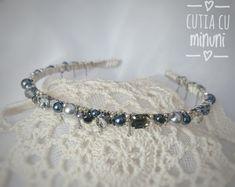 Coronita argintie din margele si cristale gri/ Grey crystals crown/ Silver handmade headband Beaded Bracelets, Grey, Silver, Jewelry, Fashion, Gray, Moda, Jewlery, Jewerly