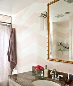 pink chevron walls- girls bathroom is pink already...maybe I should add white chevron?