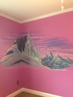 Frozen mural on my daughters wall. Elsa's castle