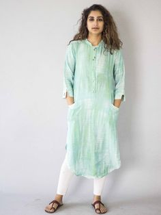 Green Tie and Dye Cotton Silk Kurta