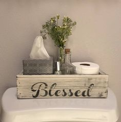 Blessed, Farmhouse Style Crate, Farmhouse Decor, Table Centerpiece,Back of the Toilet, Mason Jar Crate, Rustic Wood Box, French Country by RedRabbitGoods on Etsy https://www.etsy.com/listing/567182077/blessed-farmhouse-style-crate-farmhouse