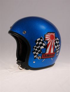 Vintage 70's Yamaha 650 Helmet - $224.99, A genuine Yamaha accessory from the mid 70's. Relined by Hell Mutts with new impact absorbent liner, top pad, ear cups, straps and snaps. Features crushed black velvet lining with cool skull crown. Custom painted by Evel Joe.