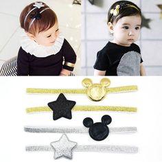 2 개 2016 새로 디자인 미키 어린이 탄성 헤어 밴드 소녀 헤어 액세서리 아기 스타 빛나는 머리띠 아이 모자