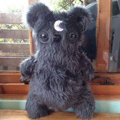Teddy Bear Plush Toy Moon Grey Furry Monster by HanjipanDesigns   I need this for scientific reasons
