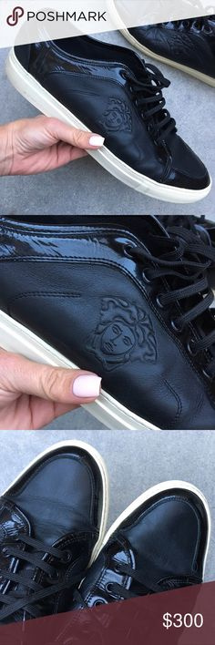 VERSACE MEDUSA LEATHER SNEAKER SZ 46 (13 MENS) PREVIOUSLY LOVED well taken care of authentic VERSACE MEDUSA SNEAKER SIZE 46 Euro (equivalent to size 13 men) no size label inside. Leather, suede & patent leather with off white rubber sole. Leather insole with mesh lining. Embossed medusa, wear is shown, rubbing on suede..small knicks in leather, scuffs on outsoles (normal wear). Please use the zoom feature to inspect. Perfect for dressing up or down! Super comfy! Smoke free home. Ships same…