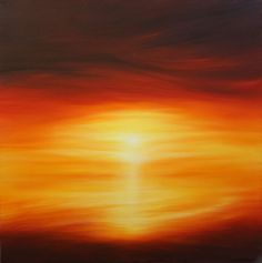 Acrylic Landscapes for Beginners | Original sunset painting , semi-abstract seascape oil on deep edge box ...
