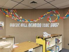 Library Decor: Where Will Reading Take You? (with a free printable!) Literary Hoots: School Library Decor: Where Will Reading Take You? (with a free printable!)Literary Hoots: School Library Decor: Where Will Reading Take You? (with a free printable! School Library Decor, School Library Displays, Middle School Libraries, Elementary School Library, Free Library, Library Ideas, Children's Library, School Display Boards, Elementary Library Decorations