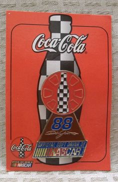 Coca-Cola NASCAR 88 Dale Jarrett Lapel Pin The Official Soft Drink Of NASCAR #CocaCola