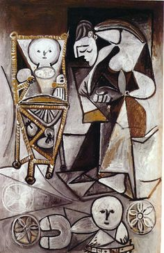 Pablo Picasso - Drawing woman surrounded by her children (1950)