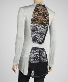 Take a look at this Heather Gray & Black Lace Panel Open Cardigan by Fashion by Wholesale on #zulily today!