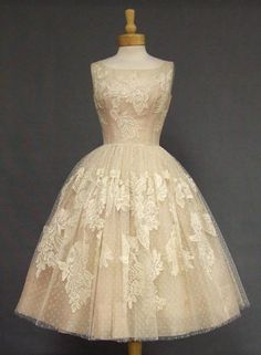 Ivory Lace & Pink Organdy 1950's Cocktail Dress