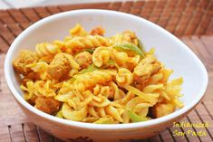 Indianized Soy Pasta / Soy pasta with desi tadka  Lets enjoy our favorite pasta with some desi twist #Indianflavors #soypasta #nutri #pasta #soynuggets #veggies #pastawithoutsauce Recipe at: www.annapurnaz.in